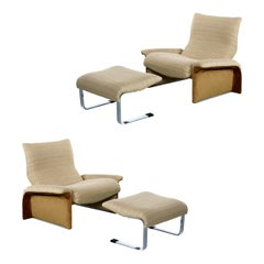 Saporiti Italia Chrome Lounge Chairs and Ottomans by Giovanni Offredi