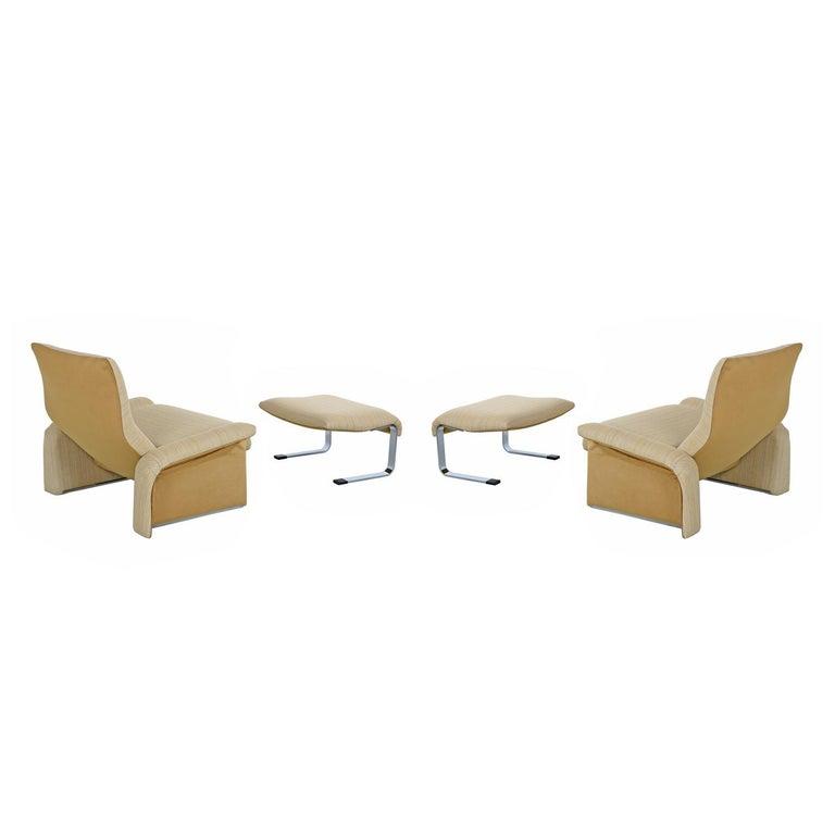 Italian Saporiti Italia Chrome Lounge Chairs and Ottomans by Giovanni Offredi For Sale