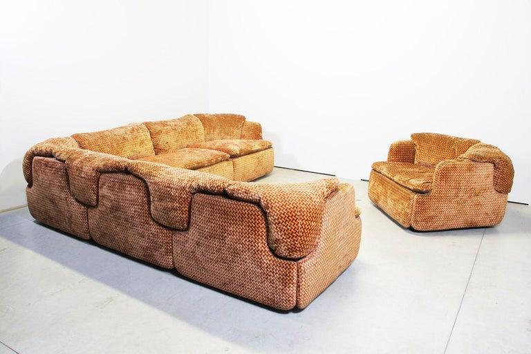 Mid-Century Modern Saporiti Italia Confidential Sofa and Armchair Living Room Set, 1970s For Sale