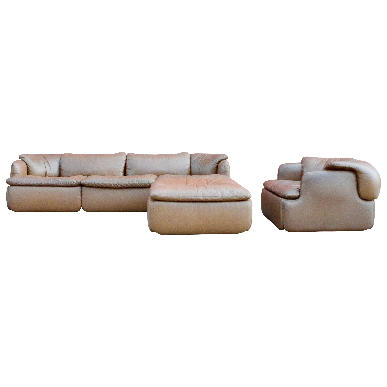 Saporiti Italia Confidential Sofa, Armchair and Ottoman Living Room Set, 1970s