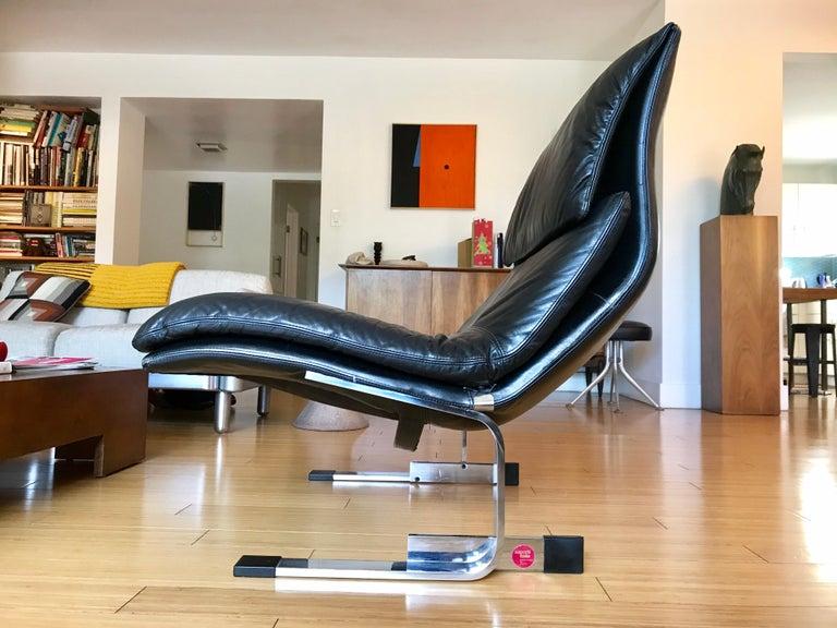Modern Saporiti Italia Leather Lounge Chair, 1970s For Sale