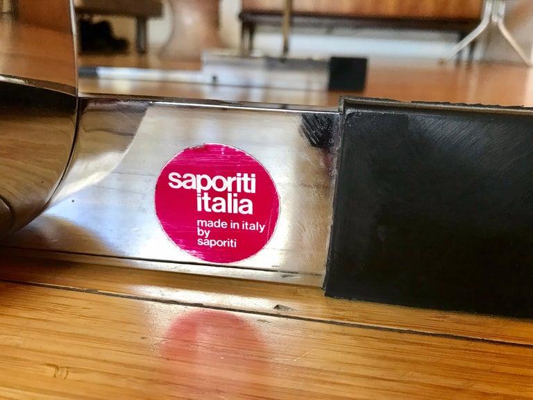 Italian Saporiti Italia Leather Lounge Chair, 1970s For Sale