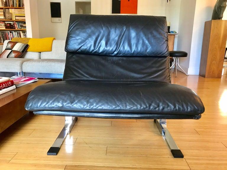 20th Century Saporiti Italia Leather Lounge Chair, 1970s For Sale