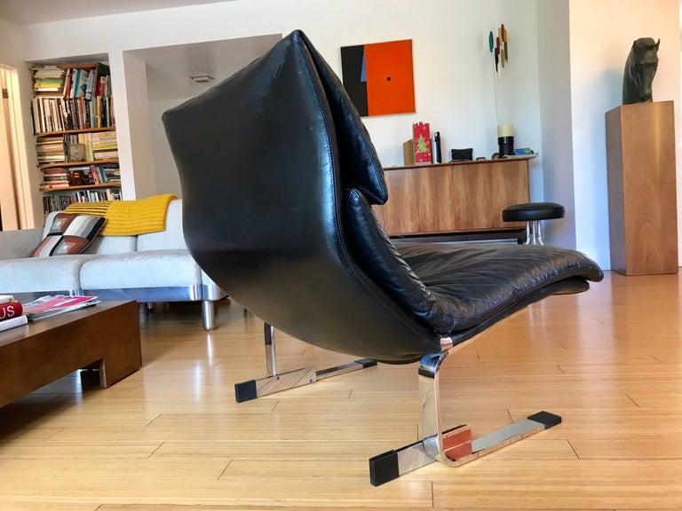 Saporiti Italia Leather Lounge Chair, 1970s For Sale 3