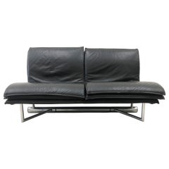 Saporiti Italia Padded Leather and Stainless Steel Sofa