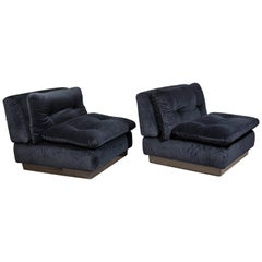 Saporiti Italia Pair of Lounge Chairs, 1970s