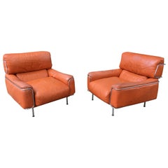 Saporiti Leather and Chrome Lounge Chairs