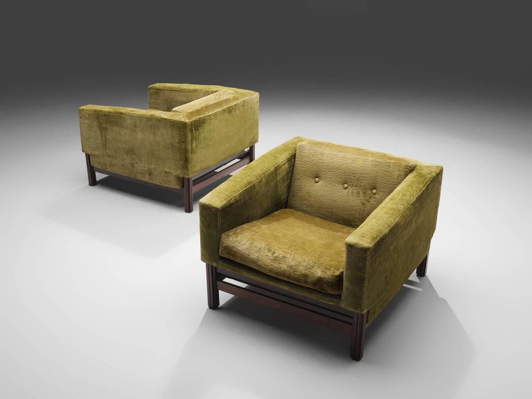 Mid-20th Century Saporiti Living Room Set in Original Velvet For Sale