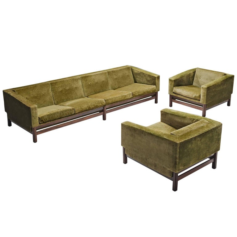 Saporiti Living Room Set in Original Velvet For Sale