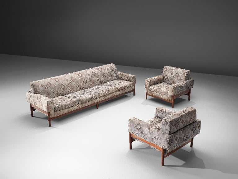Saporiti, lounge set in rosewood and fabric, Italy, 1960s.
