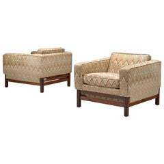 Saporiti Lounge Chairs in Fabric and Rosewood