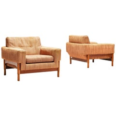 Saporiti Lounge Chairs in Fabric Upholstery