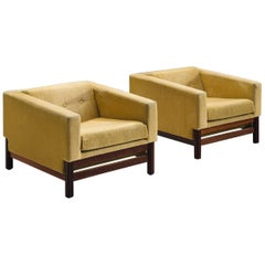 Saporiti Lounge Chairs in Yellow Velvet and Rosewood