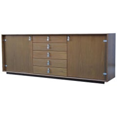 Saporiti Minimal 1970 Sideboard in Solid Chestnut Drawers and Doors