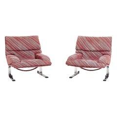 Saporiti Onda Lounge Chairs Missoni Fabric, circa 1970's