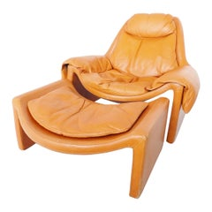 Saporiti P60 Leather Lounge Chair with Ottoman by Vittorio Introini, Midcentury