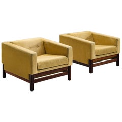 Saporiti Pair of Lounge Chairs in Yellow Velvet and Rosewood