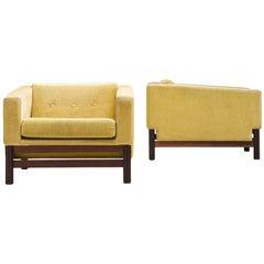 Saporiti Pair of Lounge Chairs in Yellow Velvet