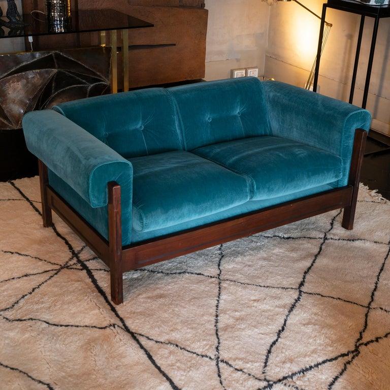 Mid-Century Modern Saporiti Pair of Two-Seat Rosewood Sofas, Teal Green Velvet, circa 1960
