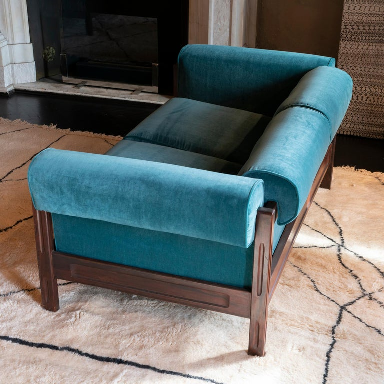 Saporiti Pair of Two-Seat Rosewood Sofas, Teal Green Velvet, circa 1960 In Good Condition In Firenze, IT