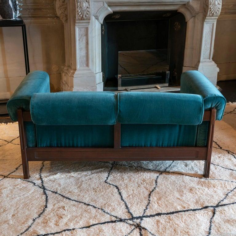 Mid-20th Century Saporiti Pair of Two-Seat Rosewood Sofas, Teal Green Velvet, circa 1960
