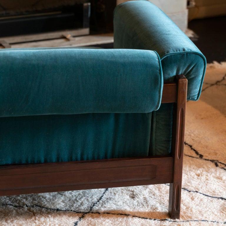 Fabric Saporiti Pair of Two-Seat Rosewood Sofas, Teal Green Velvet, circa 1960