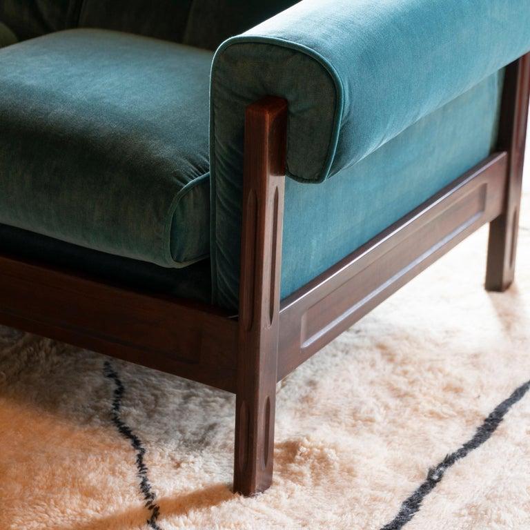 Saporiti Pair of Two-Seat Rosewood Sofas, Teal Green Velvet, circa 1960 1