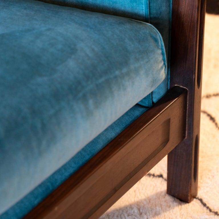 Saporiti Pair of Two-Seat Rosewood Sofas, Teal Green Velvet, circa 1960 2