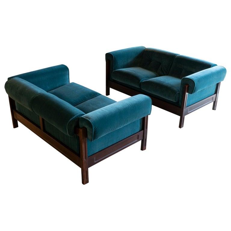 Saporiti Pair of Two-Seat Rosewood Sofas, Teal Green Velvet, circa 1960