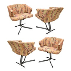 Saporiti Set of 4 Sculptural Dining/Game Chairs 1970s 'Signed'