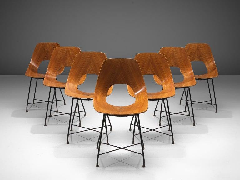 Mid-Century Modern Saporiti Set of 'Ariston' Dining Chairs in Teak For Sale