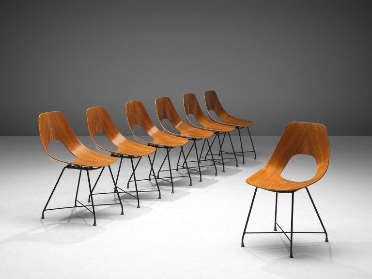 Italian Saporiti Set of 'Ariston' Dining Chairs in Teak For Sale