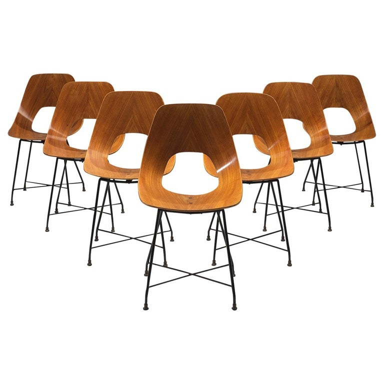 Saporiti Set of 'Ariston' Dining Chairs in Teak For Sale
