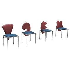 Saporiti set of four chairs Warhol, Malevich, Kandinsky, Fontana