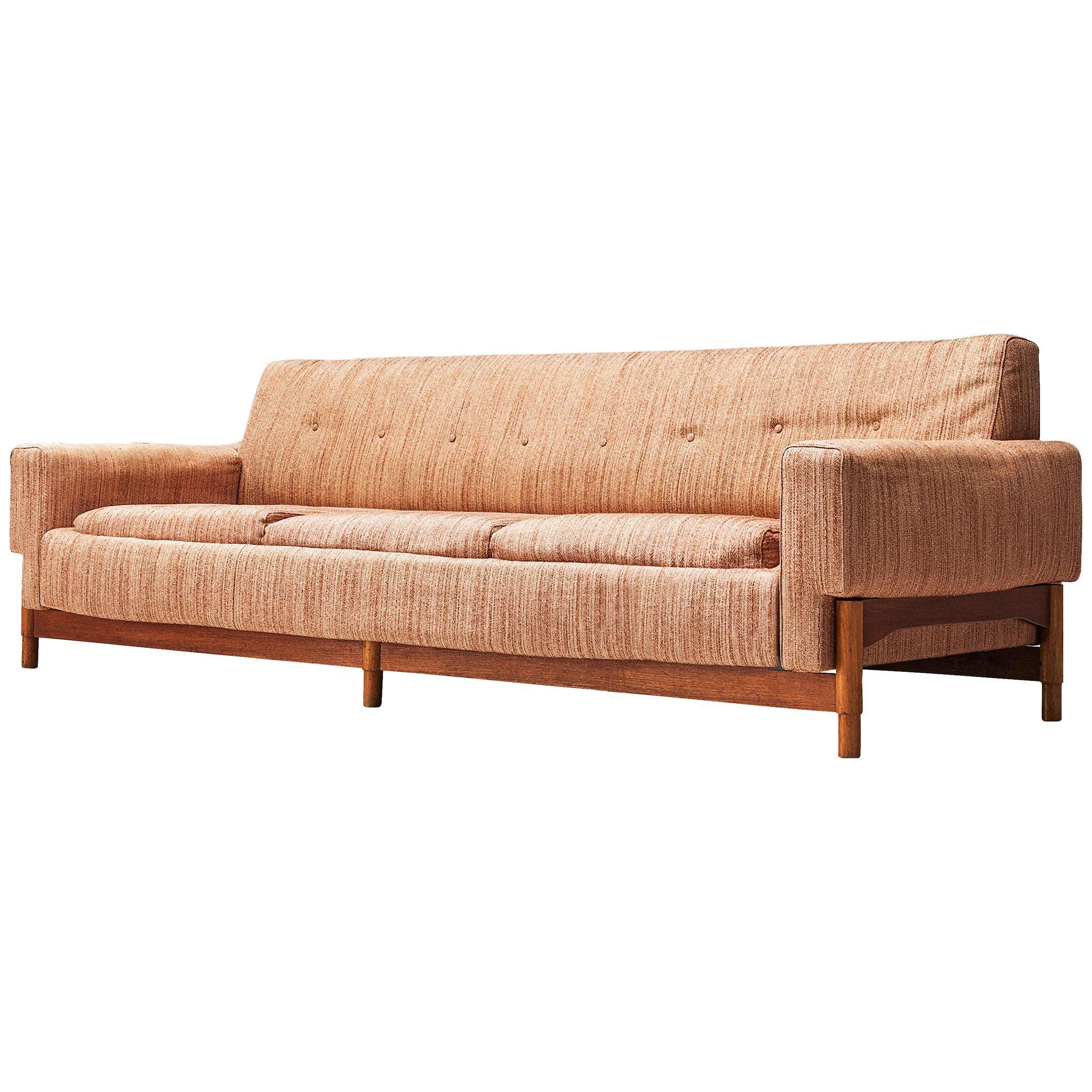 Saporiti Sofa in Teak and Fabric Upholstery