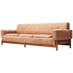 Saporiti Sofa in Teak and Fabric Upholstery