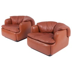 Saporiti Space Age Confidential Cognac Leather Club Chairs by Alberto Rosselli
