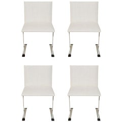 Saporiti Stainless Steel and Upholstered Dining Chairs Set of 4 Italian