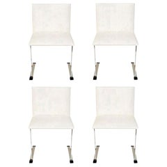 Saporiti Stainless Steel and Upholstered Dining Chairs Set of 4 Italian Vintage
