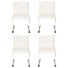 Saporiti Stainless Steel and White Upholstered Dining Chairs Italian Set of 4