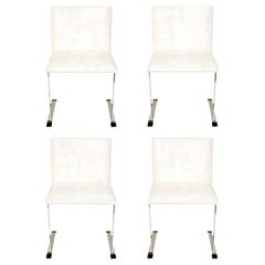 Saporiti Stainless Steel and White Upholstered Dining Chairs Italian Set of Four