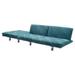 Saporiti Two Seat Sofa with Ottoman in Green-Blue Fabric