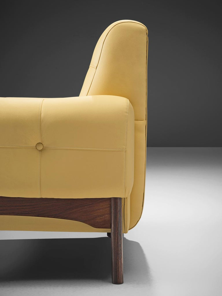 Saporiti Yellow Lounge Chairs with Rosewood Frame For Sale 3