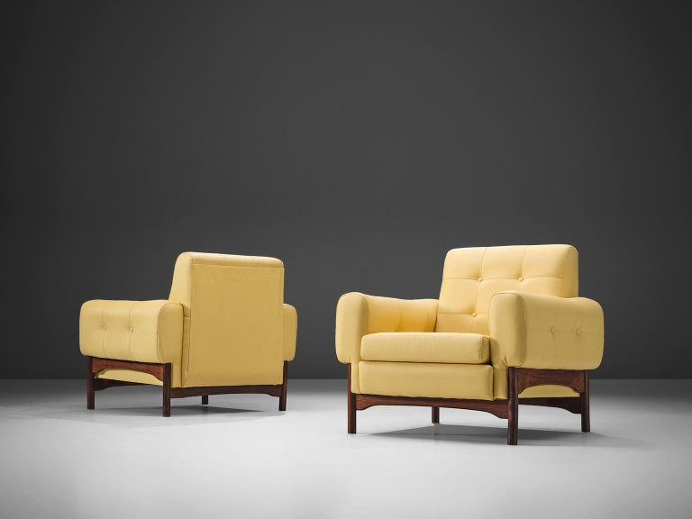 Mid-Century Modern Saporiti Yellow Lounge Chairs with Rosewood Frame For Sale