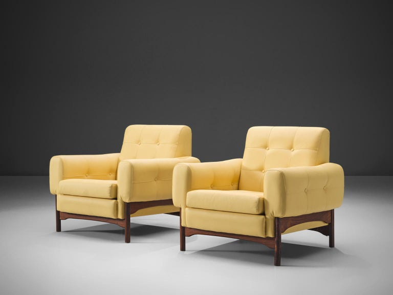 Italian Saporiti Yellow Lounge Chairs with Rosewood Frame For Sale