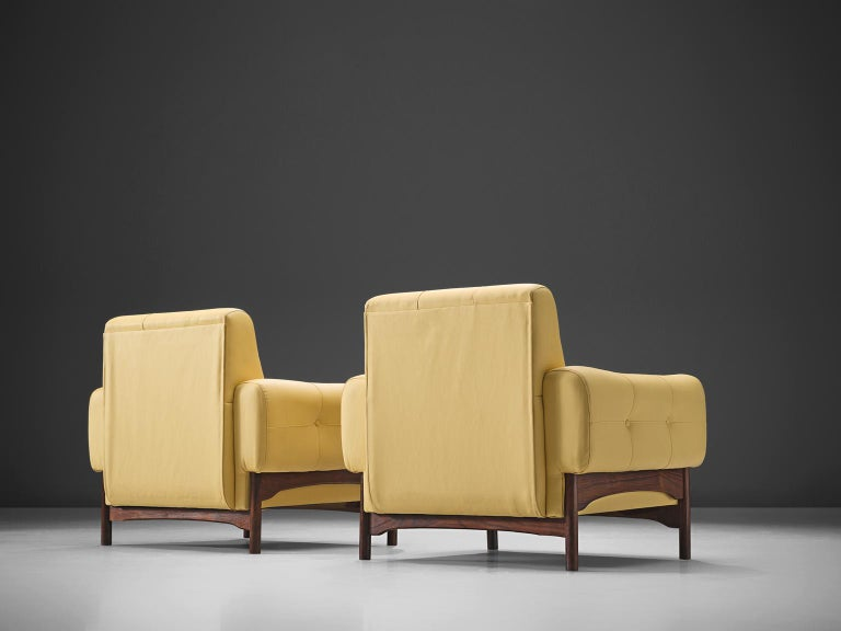 Saporiti Yellow Lounge Chairs with Rosewood Frame In Good Condition For Sale In Waalwijk, NL