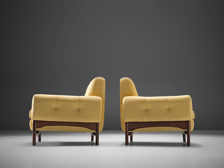 Mid-20th Century Saporiti Yellow Lounge Chairs with Rosewood Frame For Sale