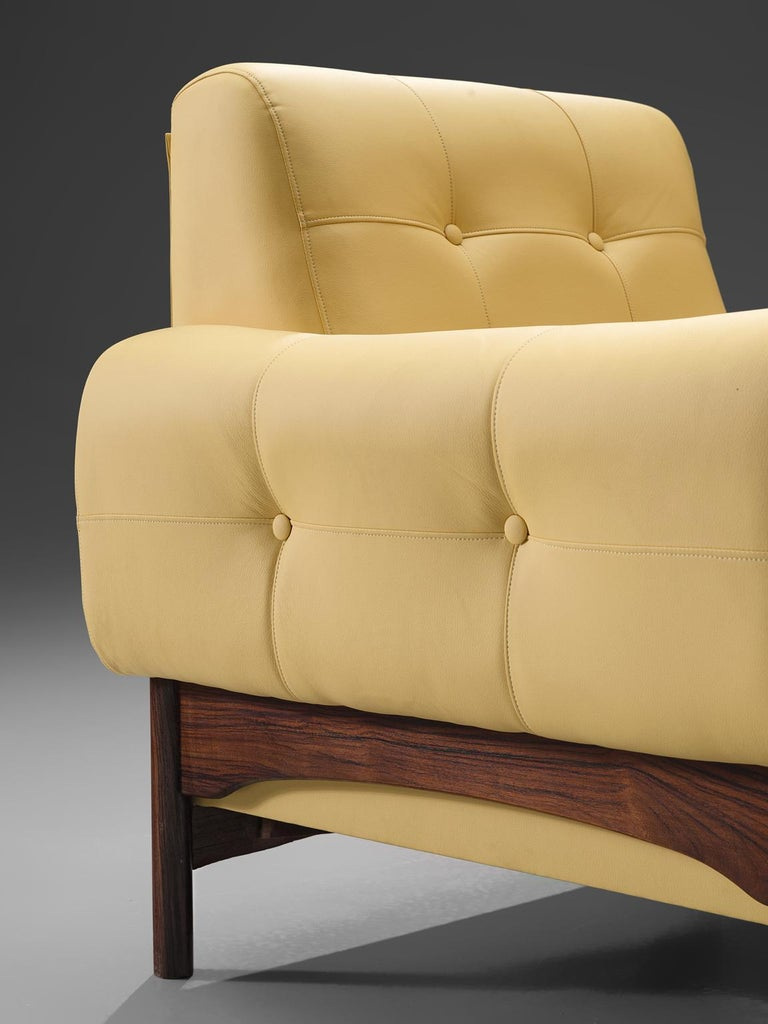 Faux Leather Saporiti Yellow Lounge Chairs with Rosewood Frame For Sale