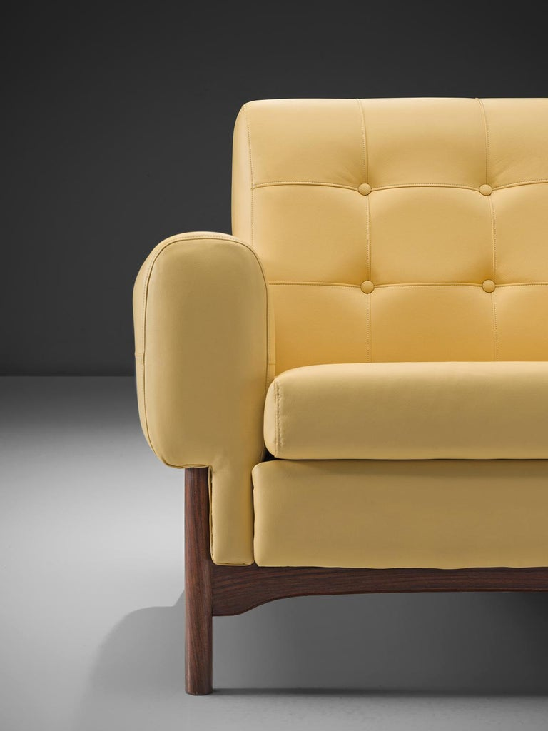 Saporiti Yellow Lounge Chairs with Rosewood Frame For Sale 1