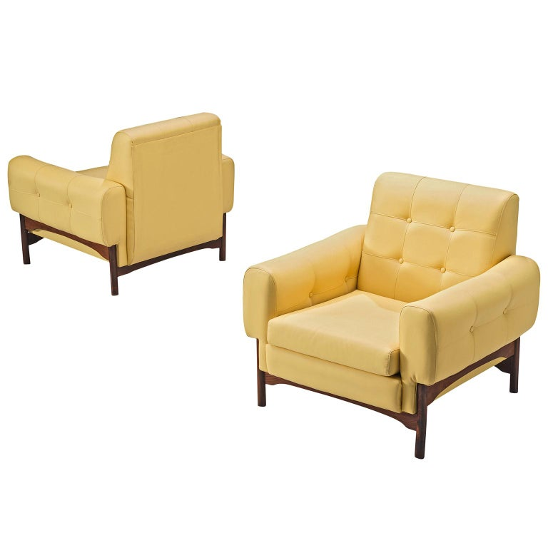 Saporiti Yellow Lounge Chairs with Rosewood Frame For Sale